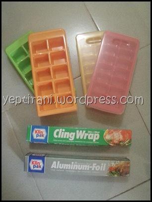 Ice Cube Tray, Plastik Wrap, dan Aluminium Foil